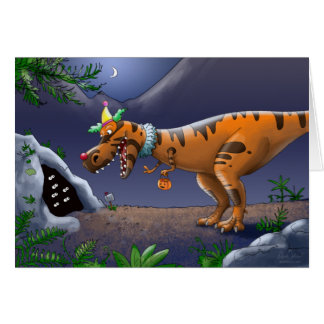 T Rex Trick or Treat Greeting Card