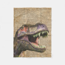 T-rex,tyrannosaurus,dinosaur Vintage Antique Art Fleece Blanket
