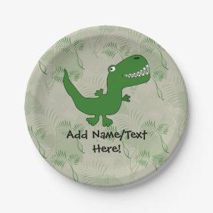 T-Rex Tyrannosaurus Rex Dinosaur Cartoon Kids Boys Paper Plate & Dinosaur T Rex Tyrannosaurus Rex Plates | Zazzle.co.uk