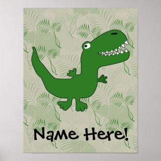 T-Rex Tyrannosaurus Rex Dinosaur Cartoon Kids Boys Poster