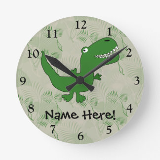 T-Rex Tyrannosaurus Rex Dinosaur Cartoon Kids Boys Round Clock