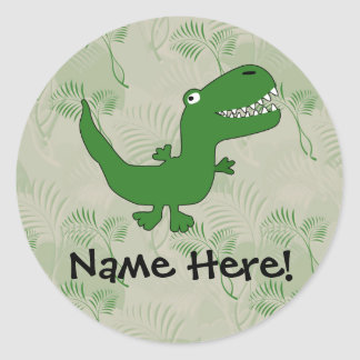 T-Rex Tyrannosaurus Rex Dinosaur Cartoon Kids Boys Round Sticker