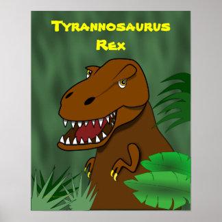 T-Rex Tyrannosaurus Rex Scary Cartoon Dinosaur Print