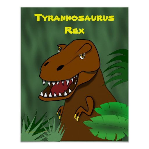 T Rex Tyrannosaurus Rex Scary Cartoon Dinosaur Poster