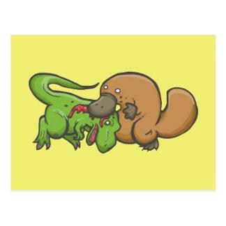 T-rex vs Platypus Postcard