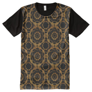 T-Shirt | Gold retro mod flower hippy pattern All-Over Print T-Shirt