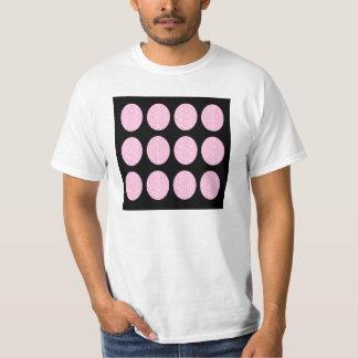 T-Shirt Pink Glitter Circles On Black