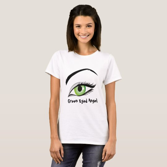 T-shirt with a green eye, green-eyed angel