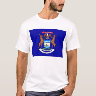 T Shirt with Flag of Michigan State USA