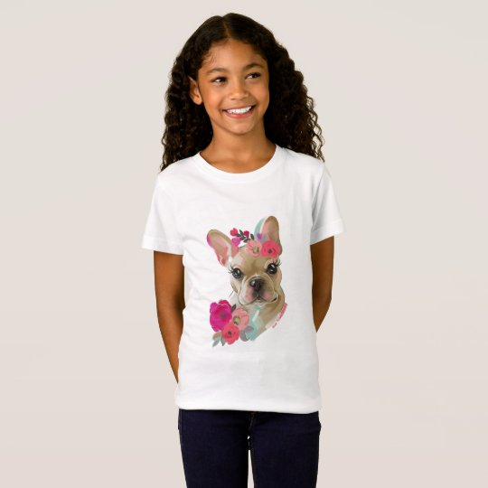 T shirt with French bulldog floral art design
