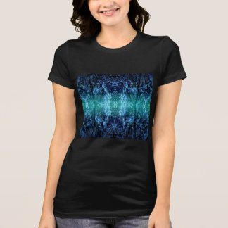 T-Shirt with Turquoise, Blue and Black Digital Art