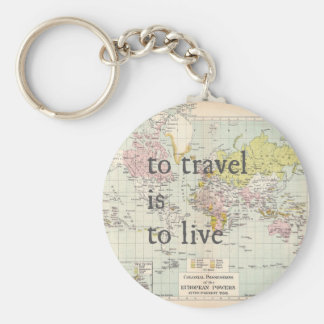 T Travel is To Live Basic Round Button Key Ring