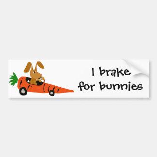 TA- Funny Bunny Rabbit Driving Carrot Car Cartoon Bumper Sticker