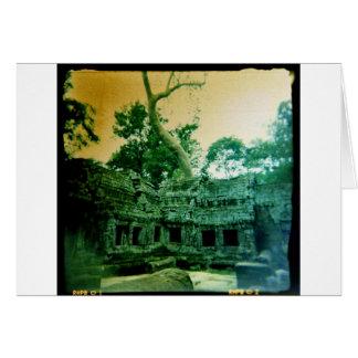 ta prohm temple near angkor wat greeting card