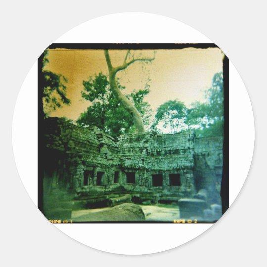 ta prohm temple near angkor wat round sticker