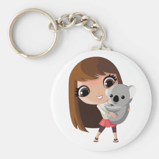 Taara and Pudding the Koala Basic Round Button Key Ring