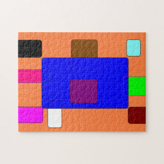Tab – Colorful Abstract Art on Orange Background Jigsaw Puzzle