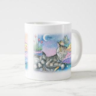 Tabby Cat and Fairy Giant Coffee Mug