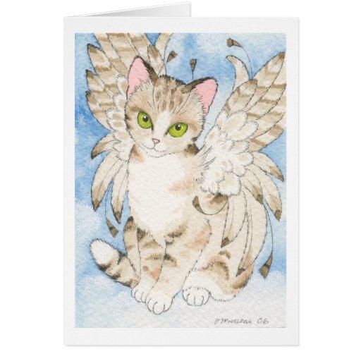 Tabby cat angel customizable notecard cards