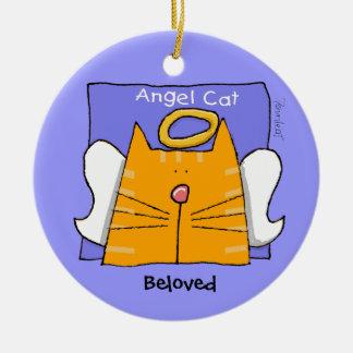 Tabby Cat Angel Keepsake Round Ceramic Decoration