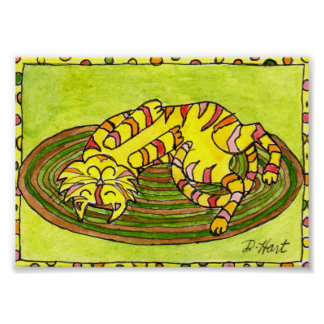 Tabby Cat Annie Sleeping on a Rug Mini Folk Art Poster