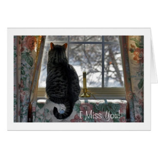 Tabby Cat at Snowy Window Card