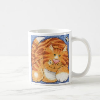 tabby cat basic white mug