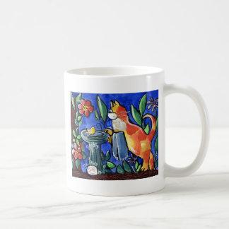 Tabby Cat Bird Bath Basic White Mug