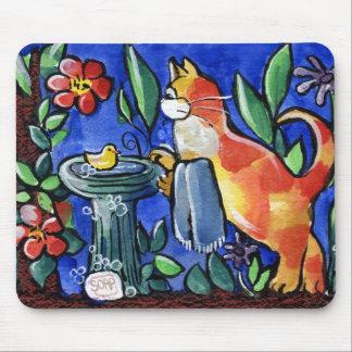 Tabby Cat Bird Bath Mouse Pad