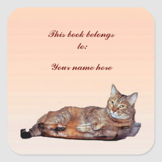 Tabby Cat Bookplate Square Sticker