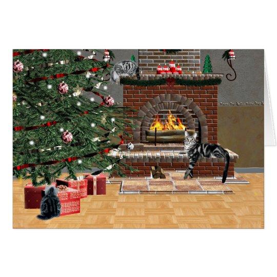 Tabby cat Christmas Card