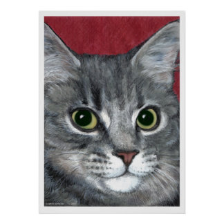 Tabby Cat ~ colored pencil drawing Poster