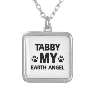 TABBY CAT DESIGN SQUARE PENDANT NECKLACE