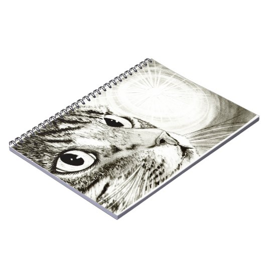 Tabby Cat Fairy Light Drawing Art Notebook