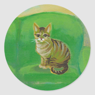 Tabby cat from original painting of pets on sofa round sticker