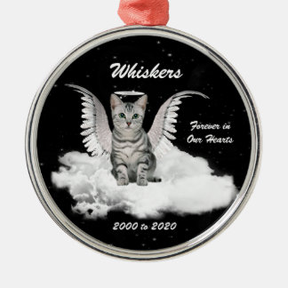 Tabby Cat Guardian Angel Pet Memorial Silver-Colored Round Decoration