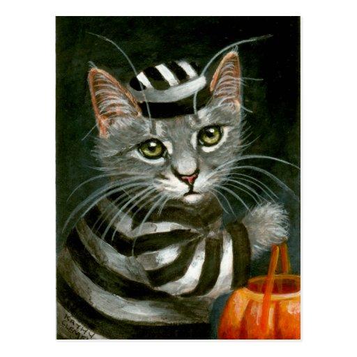 Tabby Cat Halloween Prisoner Postcard