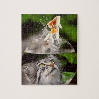 Tabby Cat Head in Bowl Looks as Goldfish Leaps Jigsaw Puzzle