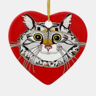 Tabby Cat Heart Ornament