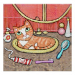 Tabby Cat In The Bathroom Sink Poster