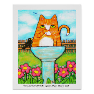 Tabby Cat In The Birdbath Poster