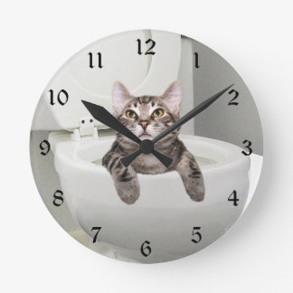 Tabby cat in toilet wall clocks