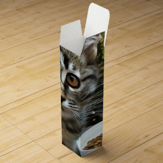 Tabby Cat Kitten Making Eye Contact Wine Gift Boxes