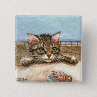 Tabby Cat Kitten Pizza 15 Cm Square Badge