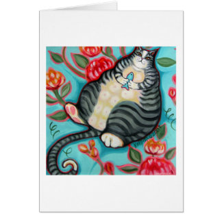 Tabby Cat on a Cushion Greeting Card