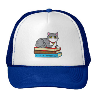 Tabby Cat on Books Cap