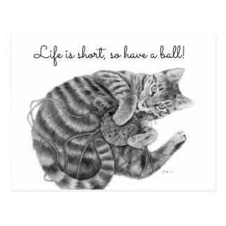 Tabby Cat Playing with a Ball of Yarn Postcard