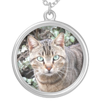 Tabby Cat Round Pendant Necklace