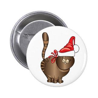 tabby cat santa 6 cm round badge