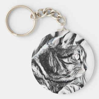 Tabby Cat Sketch Key Chain
